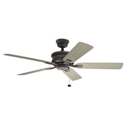 52 Kathleen 5 Blade Outdoor Ceiling Fan Finish: Weathered Zinc with Teak/Walnut Blades