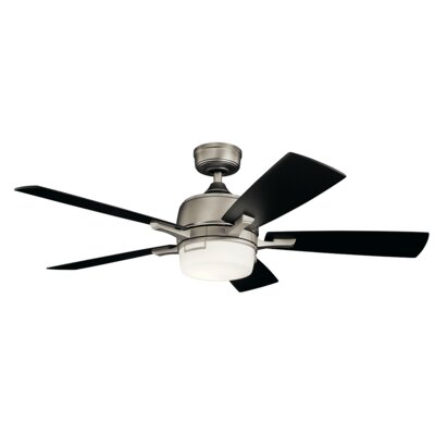 52 Gabby 5 Blade LED Ceiling Fan Finish: Antique Pewter with Light Cherry/Black Cherry Blad