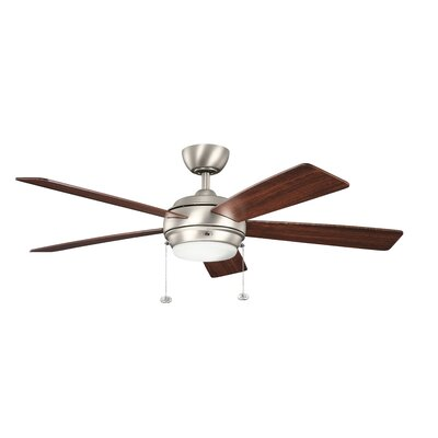 52 Starkk 5 Blade Ceiling Fan Finish: Brushed Nickel with Silver and Walnut Blades