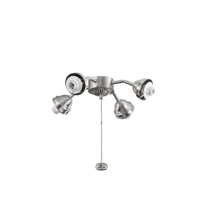 4-Light Bent Arm Fan Fitter Finish: Brushed Stainless Steel