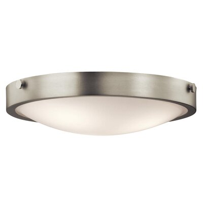 Jacoby 3-Light Flush Mount Size: 5.5 H x 17.5 W, Finish: Brushed Nickel