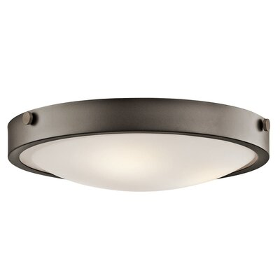 Jacoby 3-Light Flush Mount Size: 5.5 H x 17.5 W, Finish: Bronze