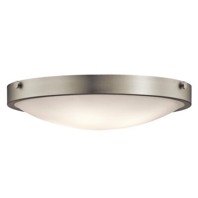 Jacoby 3-Light Flush Mount Size: 5.5 H x 20.5 W, Finish: Brushed Nickel