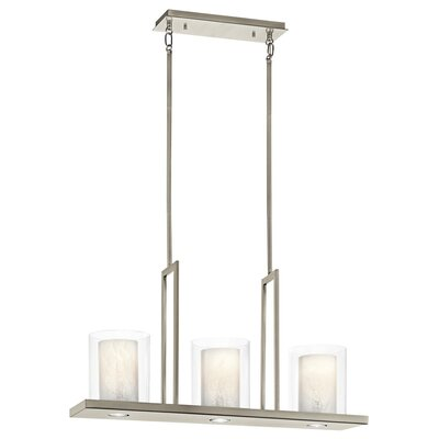 Triad 3-Light Drum Pendant Size: 18 H x 7.75 W x 31.25 D, Finish: Classic Pewter