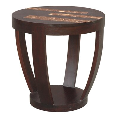 Batavia Coco Motif Side Table in Espresso