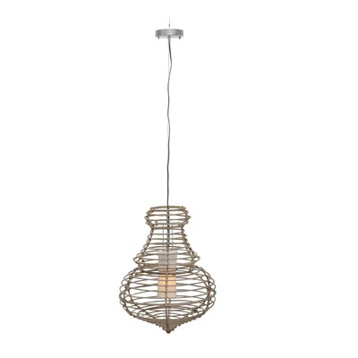 Sienna Foyer 1-Light Pendant Size: Large, Color: Dark Natural