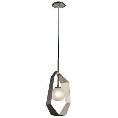 Laylah 1-Light Metal Geometric Pendant Finish: Graphite/Silver Leaf