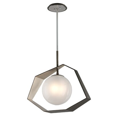 Laylah 1-Light LED Geometric Pendant Finish: Graphite/Silver Leaf