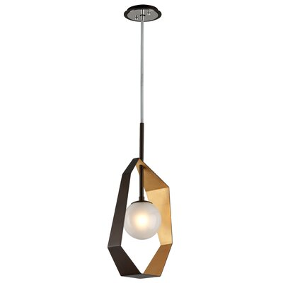 Laylah 1-Light Metal Geometric Pendant Finish: Bronze/Gold Leaf