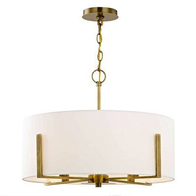 Milam 4-Light Drum Pendant Finish: Aged Brass, Shade Color: Cream