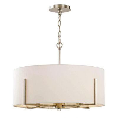 Milam 4-Light Drum Pendant Finish: Polished Nickel, Shade Color: White