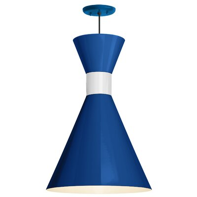 Harjo 1-Light Inverted Pendant Finish: Blue Shade/Gloss White Center Adapter, Size: 54 H x 12 W x 12 D