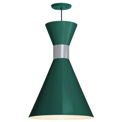Harjo 1-Light Inverted Pendant Finish: Hunter Green Shade/Flannel Gray Center Adapter, Size: 54 H x 12 W x 12 D