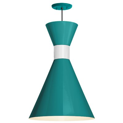 Harjo 1-Light Inverted Pendant Finish: Tahitian Teal Shade/SemiGloss WHT Center Adapter, Size: 54 H x 12 W x 12 D