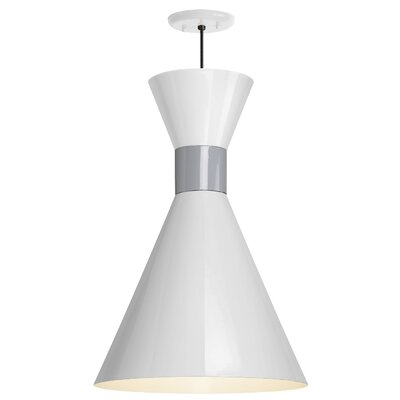 Harjo 1-Light Inverted Pendant Finish: Gloss White Shade/Flannel Gray Center Adapter, Size: 54 H x 12 W x 12 D