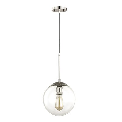 Fralick 1-Light Globe Pendant Finish: Historic Nickel, Size: 165.5 H x 12 W x 12 D