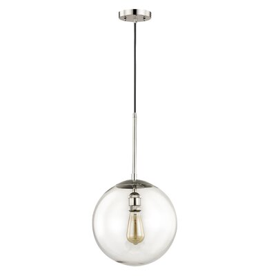 Fralick 1-Light Globe Pendant Finish: Polished Nickel, Size: 165.5 H x 12 W x 12 D