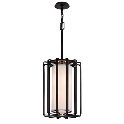 Drum 2-Light Lantern Pendant Finish: Graphite, Shade Color: Ivory, Bulb Type: 60W Medium Base Incandescent Bulb