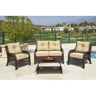 Astin 4 piece Deep Seating Group with Cushion Fabric: Beige, Frame Finish: Husk Brown
