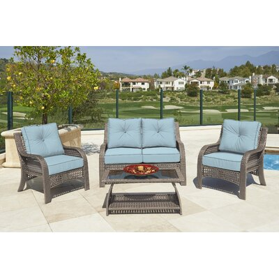 Astin 4 piece Deep Seating Group with Cushion Frame Finish: Gray, Fabric: Spa Blue