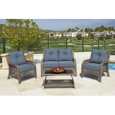 Astin 4 piece Deep Seating Group with Cushion Fabric: Denim, Frame Finish: Gray