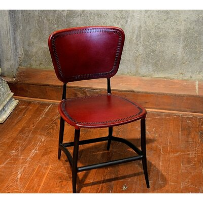 Signature Rocket Genuine Leather Upholstered Dining Chair Upholstery: Burgundy
