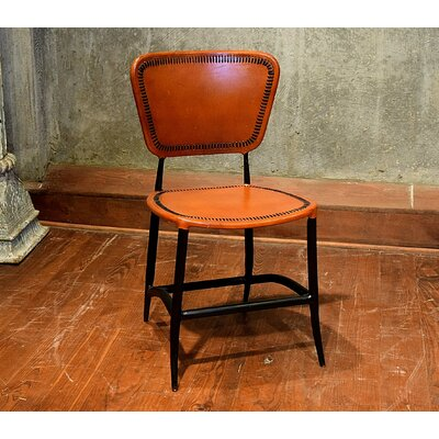Signature Rocket Genuine Leather Upholstered Dining Chair Upholstery: Apricot