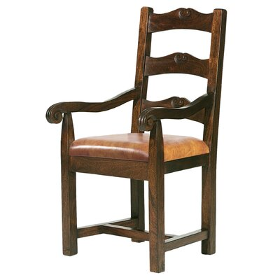 Tuscan Genuine Leather Upholstered Dining Chair Upholstery: Brown
