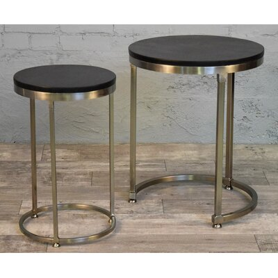 Colona 2 Piece Nesting Tables Table Top Color: Expresso, Table Base Color: Nickel
