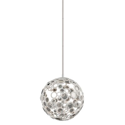 Fathom 1-Light Globe Pendant Finish: White with Polished Stainless Accents, Size: Small