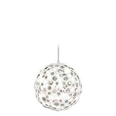 Fathom 1-Light Globe Pendant Finish: White with Polished Stainless Accents, Size: Medium