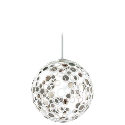 Fathom 1-Light Globe Pendant Finish: White with Polished Stainless Accents, Size: Large
