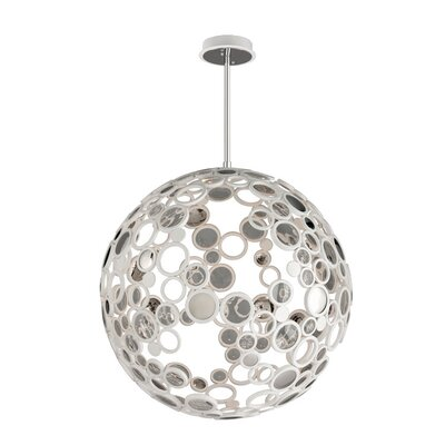 Fathom 1-Light Globe Pendant Finish: White with Polished Stainless Accents, Size: Extra Large