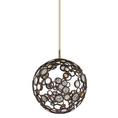 Fathom 1-Light Globe Pendant Finish: Bronze with Polished Brass, Size: Small