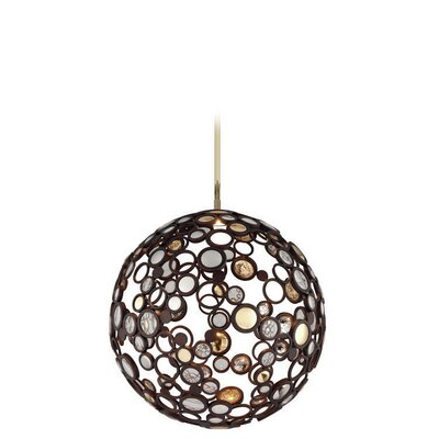 Fathom 1-Light Globe Pendant Finish: Bronze with Polished Brass, Size: Medium