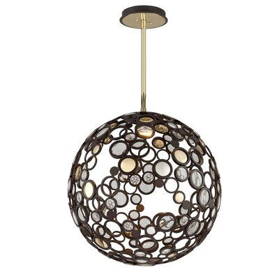 Fathom 1-Light Globe Pendant Finish: Bronze with Polished Brass, Size: Large