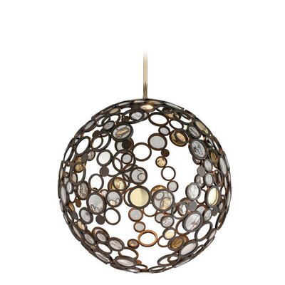 Fathom 1-Light Globe Pendant Size: Extra Large, Finish: Bronze with Polished Brass