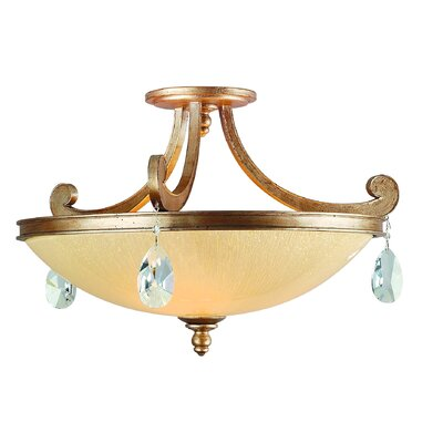 Cyra 3-Light Semi-Flush Mount Finish: Antique Roman Silver