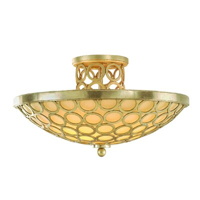 Bangle 3-Light Semi-Flush Mount Finish: Silver Leaf with Antique Mist