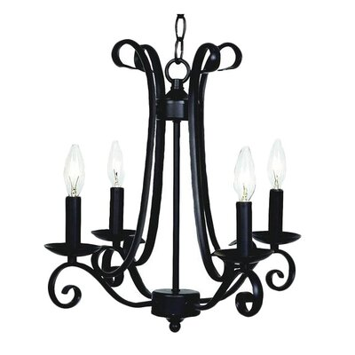 Harp 4-Light Candle-Style Chandelier Finish: Black