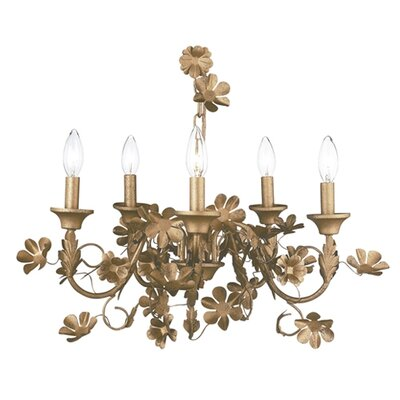 Leaf and Flower 5-Light Candle-Style Chandelier Finish: Gold