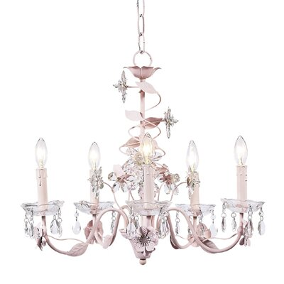 Flower 5-Light Crystal Chandelier Finish: Pink