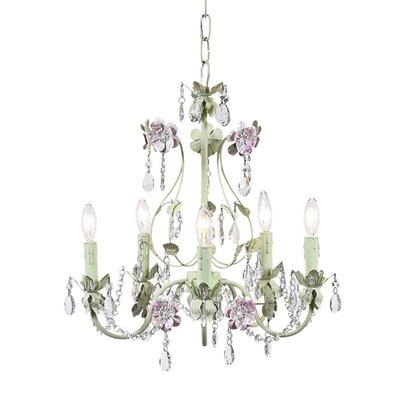 Flower Garden 5-Light Crystal Chandelier Finish: Pink/Green