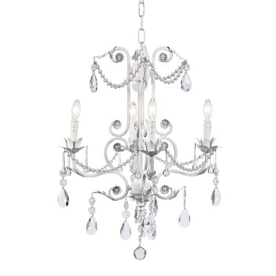 Valentino 4-Light Crystal Chandelier Finish: White