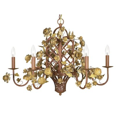 6-Light Gazebo Candle-Style Chandelier Finish: Gold/Brown