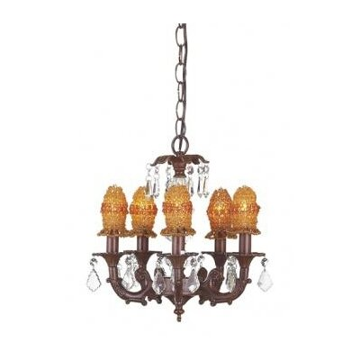 Stacked Ball 5-Light Crystal Chandelier Shade Color: Amber