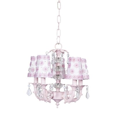 Stacked 5-Light Shaded Chandelier Shade Color: White & Pink Petal