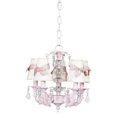 Stacked 5-Light Shaded Chandelier Shade Color: Ivory with Pink Sash