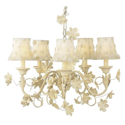 Leaf and Flower 5-Light Shaded Chandelier Finish: Ivory, Shade: Ivory Vine Embroidery