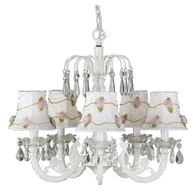 Net Flower 5-Light Shaded Chandelier Finish: White, Shade: Pink Skirt Dangle